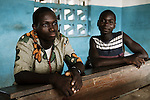Des refugies ivoiriens dans l'ecole de Janzon, au Liberia le 24 mars 2011. Some ivorian refugees have found shelter in the school of Janzon, Liberia, 24 march 2011.