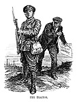 The Traitor. (a WW1 cartoon showing a striking man with a dagger and Strike Manifesto about to stab a British soldier in his back)