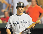 New York Yankees designated hitter Jorge Posada (20) shows his frustration as he bats against the Baltimore Orioles at Oriole Park at Camden Yards in Baltimore, MD on Friday, August 26, 2011.  The Orioles won the game 12 - 5..Credit: Ron Sachs / CNP.(RESTRICTION: NO New York or New Jersey Newspapers or newspapers within a 75 mile radius of New York City)