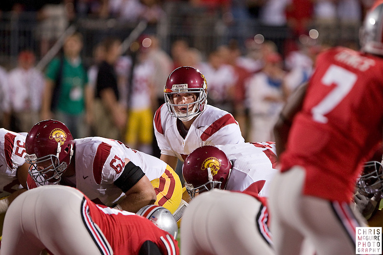 12 September 2009:  Football -- USC quarterback Matt Barkley gets ready to take a first quarter snap during their game against Ohio State at Ohio Stadium in Columbus.  USC won 18-15.  Photo by Christopher McGuire.