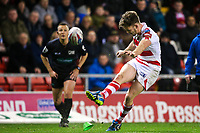 Picture by Alex Whitehead/SWpix.com - 16/03/2017 - Rugby League - Betfred Super League - Leigh Centurions v Warrington Wolves - Leigh Sports Village, Leigh, England - Leigh's Ben Reynolds kicks for goal.