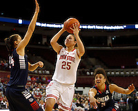 Ohio State Buckeyes guard Amy Scullion (25) leaps to the basket for a shot during the first half of the NCAA basketball game between the Ohio State Buckeyes and the Gonzaga Bulldogs at Value City Arena in Columbus, Ohio, on Sunday, Dec. 8, 2013. Ohio State Buckeyes trailed Gonzaga Bulldogs 32-20 at the half. (Columbus Dispatch/Sam Greene)