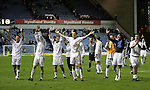 Rangers v St Johnstone....08.11.06   CIS Cup Quarter Final.Celebrations at the end, from left, Allan McManus, Steven Anderson, Paul Lawson, Martin Hardie, Willie Dyer, Goran Stanic and Peter MacDonald..Picture by Graeme Hart..Copyright Perthshire Picture Agency.Tel: 01738 623350  Mobile: 07990 594431