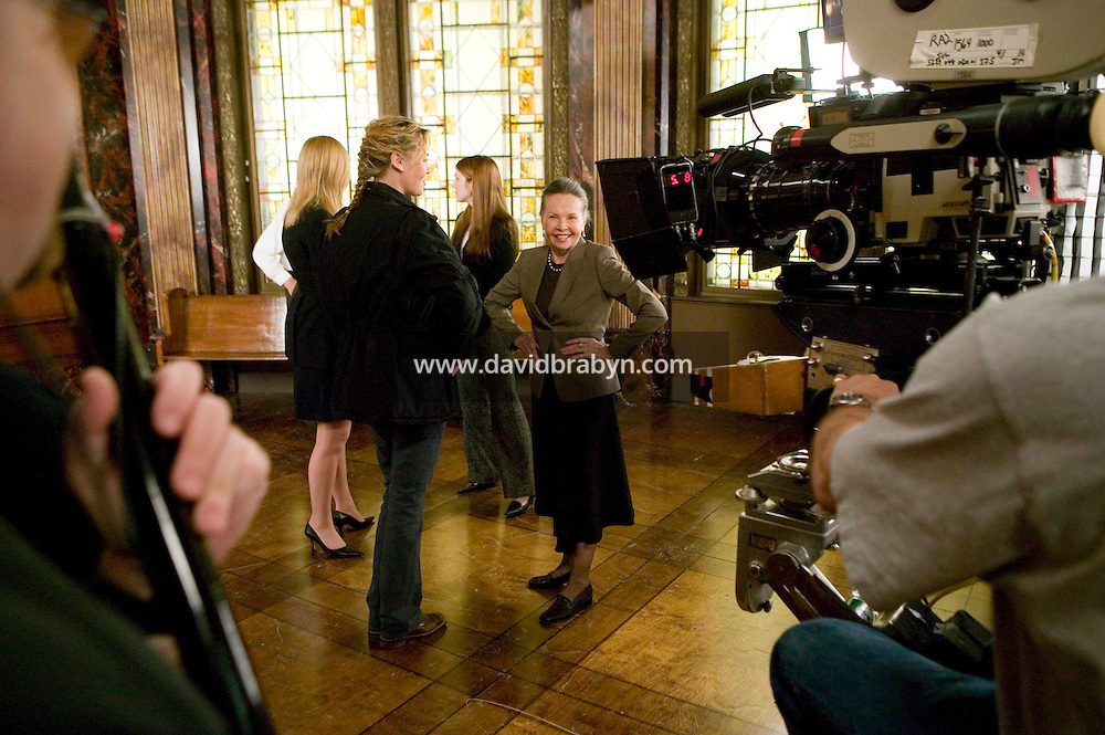 "8 May 2006 - North Bergen, NJ - French actress Leslie Caron (2R), Connie Nielsen (3L), Diane Neal (2L) and Lily Rabe (4L) wait between takes on the studio set of television show ""Law & Order: SVU"" in North Bergen, USA, 8 May 2006. In this rare appearance in front of American television cameras, Caron, 74, plays a French victim of past sexual molestation in an episode entitled ""Recall"" due to air in the fall. Caron starred in Hollywood classics such as ""An American in Paris"" (1951), ""Lili"" (1953), ""Gigi"" (1958). More recently she appeared in ""Chocolat"" (2000) and ""Le Divorce"" (2003). Photo Credit: David Brabyn"