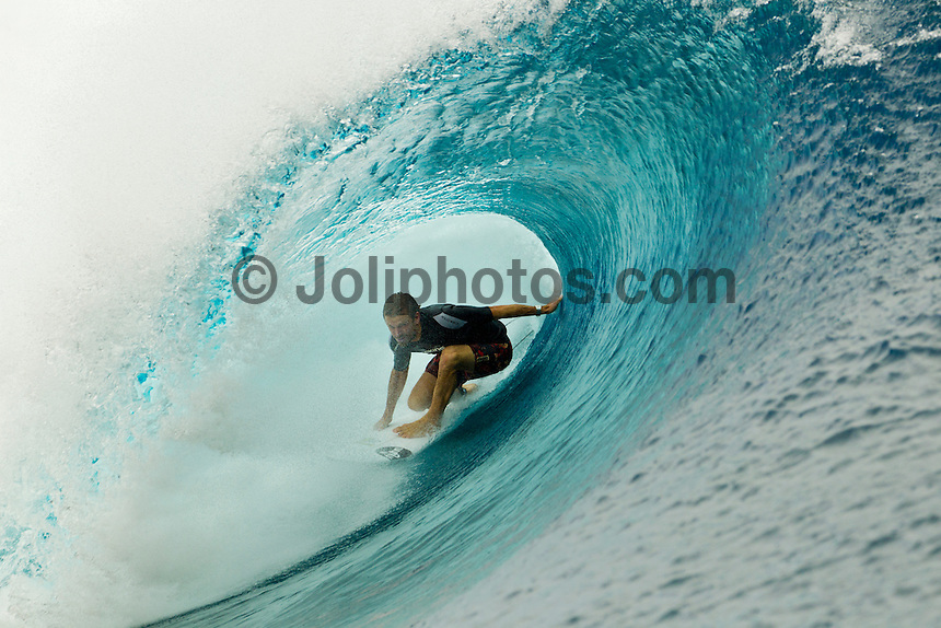 Teahupoo, Tahiti Iti, French Polynesia. Thursday August 17 2011. Kieren Perrow (AUS).  A south  west swell was hitting the main reef today with clean open barrels in the six foot range. Photo: joliphotos.com