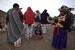 Pilgrimage of Native Wixaricas to their sacred place of Cerro Quemado in Wirikuta, February 7, 2012. The scene is in the Cerro Quemado in San Luis Potosi state. Photo by Heriberto Rodriguez