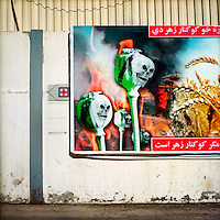 A billboard trying to dissuade farmers from growing opium poppies.