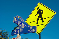 Pedestrian,  Crossing Sign, 34th Street, Manhattan Beach, CA