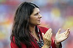 30 May 2012: Mia Hamm and the other National Soccer Hall of Fame inductees present at the game were honored on the field before the game. The Brazil Men's National Team defeated the United States Men's National Team 4-1 at Fedex Field in Landover, Maryland in an international friendly soccer match.