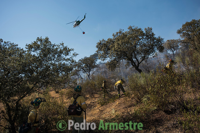 Firefighters of Brica&acute;s Malaga 703 of the service of Andalucian Infoca plan work in the wildfire in El Ronquillo, near Sevilla on July 26, 2015.<br /> Since July 19 wildfires have ravaged nearly 39,000 hectares of land in Spain, according to the provisional figures from the agriculture ministry. &copy; Pedro ARMESTRE