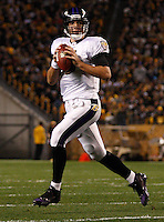 PITTSBURGH, PA - NOVEMBER 06:  Joe Flacco #5 of the Baltimore Ravens drops back to pass against the Pittsburgh Steelers during the game on November 6, 2011 at Heinz Field in Pittsburgh, Pennsylvania.  (Photo by Jared Wickerham/Getty Images)