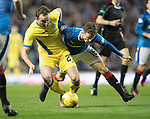 Rangers v St Johnstone&hellip;26.10.16..  Ibrox   SPFL<br />Chris Kane holds off Andy Halliday<br />Picture by Graeme Hart.<br />Copyright Perthshire Picture Agency<br />Tel: 01738 623350  Mobile: 07990 594431