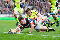 Freddie Burns of Leicester Tigers scores a first half try. Aviva Premiership match, between Leicester Tigers and Sale Sharks on April 29, 2017 at Welford Road in Leicester, England. Photo by: Patrick Khachfe / JMP