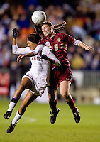 Christen Press (23) of Stanford goes up for a header against Alyssa Pember (6) of Boston College during the second game of the NCAA Women's College Cup at WakeMed Soccer Park in Cary, NC.  Stanford defeated Boston College, 2-0.