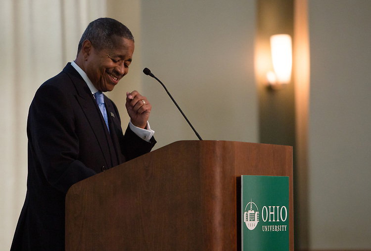 Ohio University President Roderick J. McDavis addresses faculty members during the Faculty Convocation in Walter Hall Rotunda on Aug. 27, 2014. Photo by Lauren Pond