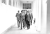 Washington, D.C. - May 31, 1974 -- United States President Richard M. Nixon walks along the colonnade from the Residence to the Oval Office at the White House in Washington, D.C. on May 31, 1974. Pictured from left to right: General Alexander M. Haig, Jr., United States Army, Assistant to the President (Chief of Staff); President Nixon; Major General Brent Scowcroft, United States Air Force, Deputy Assistant to the President for National Security Affairs; and United States Secretary of State Henry A. Kissinger, who also holds the title of Assistant to the President  for National Security Affairs..Credit: White House via CNP