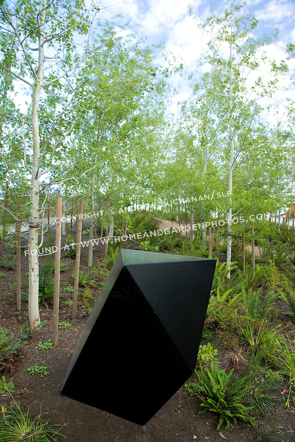Tony Smith's 'Wandering Rocks', 1967-74 sits among the aspens at the sculpture park.
