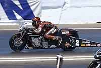 Jun. 1, 2013; Englishtown, NJ, USA: NHRA pro stock motorcycle rider Eddie Krawiec during qualifying for the Summer Nationals at Raceway Park. Mandatory Credit: Mark J. Rebilas-