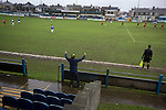 Port Talbot Town 3 Caerau Ely 0, 06/02/2016. Genquip Stadium, Welsh Cup fourth round. A home fan celebrating as Port Talbot Town (in blue) score against Caerau Ely in a Welsh Cup fourth round tie at the Genquip Stadium, formerly known as Victoria Road. Formed by exiled Scots in 1901 as Port Talbot Athletic, they competed in local and regional football before being promoted to the League of Wales  in 2000 and changing their name to the current version a year later. Town won this tie 3-0 against their opponents from the Welsh League, one level below the welsh Premier League where Port Talbot competed, watched by a crowd of 113. Photo by Colin McPherson.