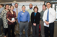 Public Health Poster Session. Class of 2015. Jessica Lane, from left, Monique-Terese Squiers, Adam Paine, Tyler Lemay, Charles Hackett, unkown, Joshua Hood, David Kaminsky, M.D.