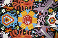 Detail of a Huichol Indian yard painitng depicting peyote buttons and sacred animals, Mexico