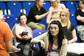"""Fame, Faust & Flying Colours"", following a musical theatre rehearsal, the students and director discuss notes.  Further Education College."