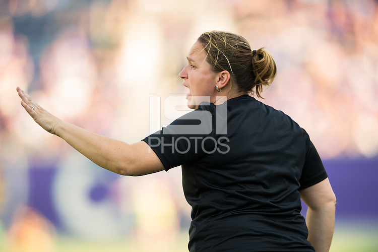 Orlando, FL - Sunday May 08, 2016: Seattle Reign FC head coach Laura Harvey during a regular season National Women's Soccer League (NWSL) match at Camping World Stadium.