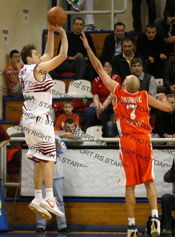 Kosarka, NLB Liga-Regionalna, sezona 2007/08.FMP (Zeleznik) Vs. Hemofarm (Vrsac).Mladen Jeremic, left.Beograd, 23.02.2008..foto: Srdjan Stevanovic