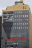 Building with wall painting promoting movie Inception, Manhattan, New York City, New York, USA