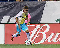Foxborough, Massachusetts - August 20, 2016:  In a Major League Soccer (MLS) match, Columbus Crewn (yellow/white/blue) defeated New England Revolution (blue/white), 2-0, at Gillette Stadium.