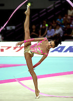 2 OCTOBER 1999 - OSAKA, JAPAN: Elena Vitrichenko of Ukraine performs in Ribbon at the 1999 Rhythmic Gymnastics World Championships in Osaka, Japan.  Elena took 5th in the individual all-around.  Copyright 1999 by Tom Theobald