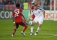 26 June 2010: Toronto FC midfielder Amadou Sanyang #22 and Los Angeles Galaxy midfielder Chris Birchall #11 in action during a game between the Los Angeles Galaxy and the Toronto FC at BMO Field in Toronto..Final score was 0-0...