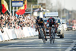 Greg Van Avermaet (BEL) BMC Racing Team outsprints  Philippe Gilbert (BEL) Quick-Step Floors to win the 60th edition of the Record Bank E3 Harelbeke 2017, Flanders, Belgium. 24th March 2017.<br /> Picture: Jim Fryer/BrakeThrough Media   Cyclefile<br /> <br /> <br /> All photos usage must carry mandatory copyright credit (&copy; Cyclefile   Yuzuru Sunada)
