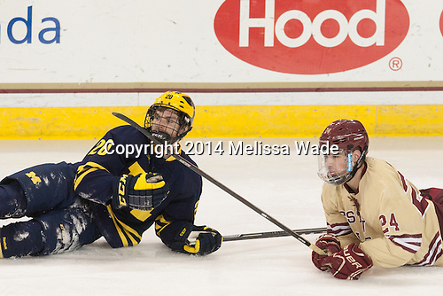 Travis Lynch (Michigan - 20), Zach Sanford (BC - 24) - The Boston College Eagles defeated the visiting University of Michigan Wolverines 5-1 (EN) on Saturday, December 13, 2014, at Kelley Rink in Conte Forum in Chestnut Hill, Massachusetts.