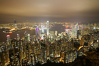 Hong Kong. The skyline at night, seen from the Peak.