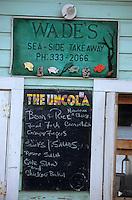 Les Bahamas /Ile d'Eleuthera/Harbour Island/Dunmore Town: détail du porte menu d'un petit restaurant snack - vente à emporter du port
