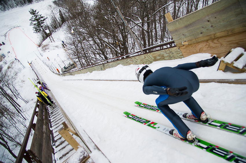 Ski jumping tournament at Suicide Bowl in Ishpeming, Michigan.