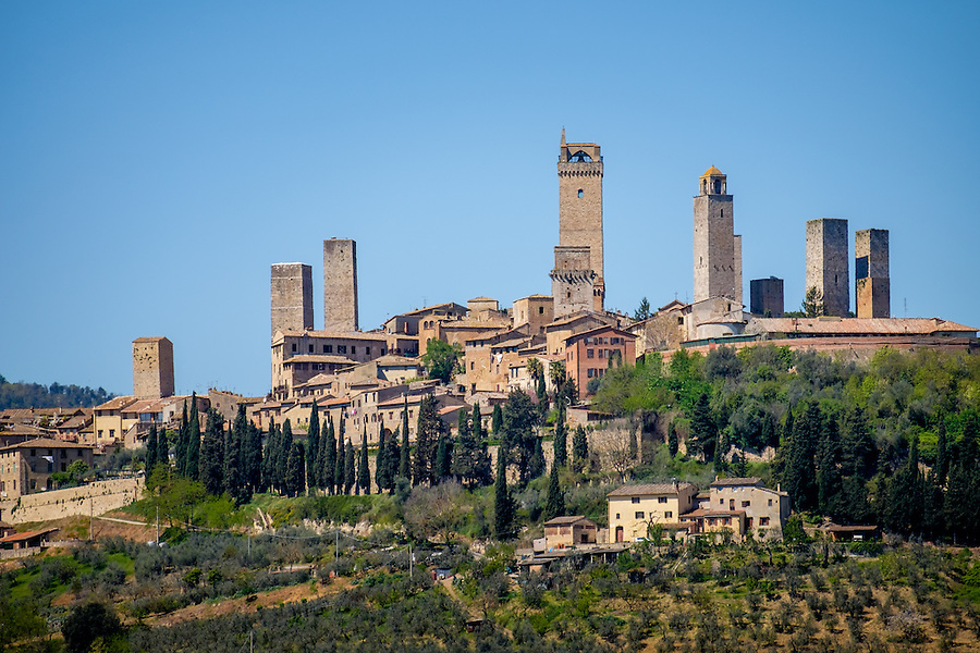 SAN GIMIGNANO, ITALY - CIRCA MAY 2015:  View of the medieval walled city of San Gimignano in Tuscany