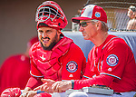 3 March 2016: Washington Nationals catcher Jhonatan Solano chats with Bench Coach Chris Speier prior to a game against the New York Mets at Space Coast Stadium in Viera, Florida. The Nationals defeated the Mets 9-4 in Grapefruit League play. Mandatory Credit: Ed Wolfstein Photo *** RAW (NEF) Image File Available ***