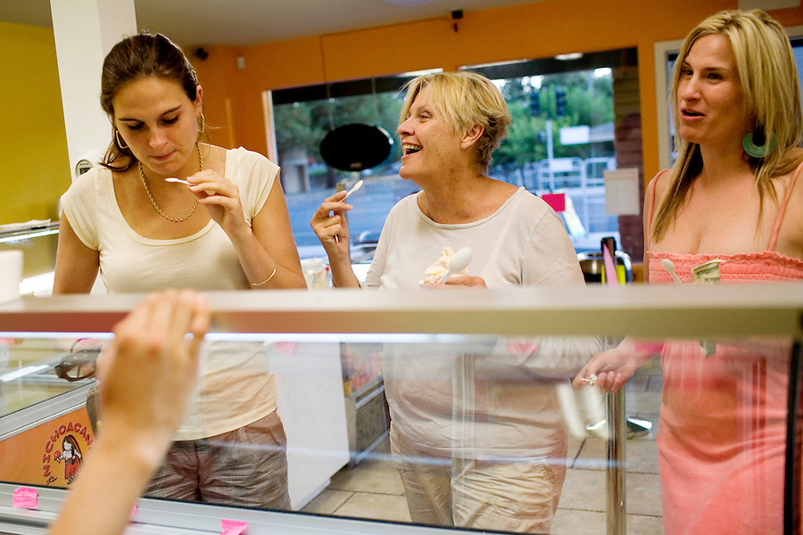 Juliana Fritz, left, tries one of 30 homemade ice creams, with Kathi Wicht, and her daughter, Hillary, right, of Sonoma, at La Michoacana, in Sonoma, Ca., on Friday, July 30, 2010.