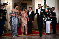 US President Barack Obama (R) and First Lady Michelle Obama (2L) pose for the official picture with Italian Prime Minister Matteo Renzi (2R) and Italian First Lady Agnese Landini (L) prior to the state dinner at the White House in Washington DC, USA, 18 October 2016. President Obama and First Lady Michelle Obama are hosting their final state dinner featuring celebrity chef Mario Batali and singer Gwen Stefani performing after dinner. <br /> Credit: Shawn Thew / Pool via CNP / MediaPunch