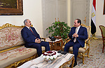 Egyptian President Abdel Fattah al-Sisi meets with Commander of the Libyan national army Field Marshal Khalifa Haftar, in Cairo, Egypt, on May 13, 2017. Photo by Egyptian President Office
