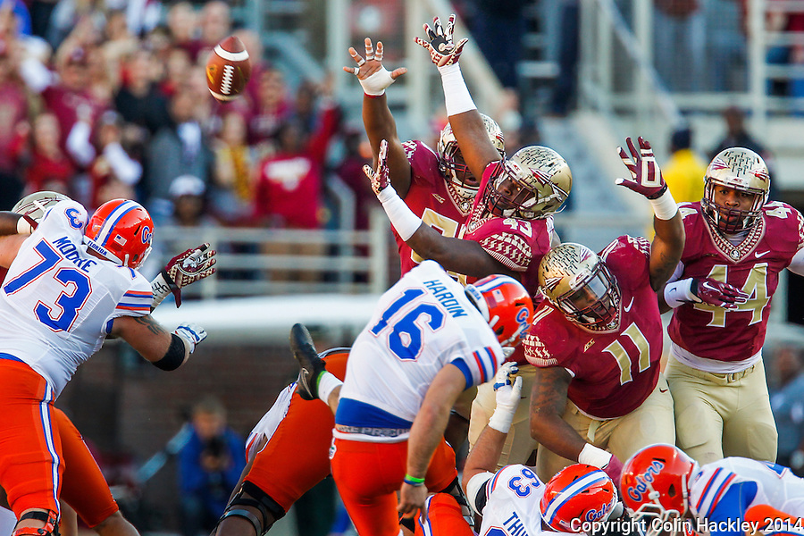 TALLAHASSEE, FL 11/29/14 FSU-UF112914-Florida State defenders try to block the first field goal made by University of Florida kicker Austion Hardin during first half action Saturday at Doak Campbell Stadium in Tallahassee. <br /> COLIN HACKLEY PHOTO