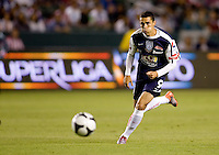 Pachuca FC forward Herculez Gomez (9) moves to the ball. USA Chivas USA defeated Pachuca FC 1-0 during 2010 SuperLiga group play at Home Depot Center stadium in Carson, California Wednesday July 21, 2010.