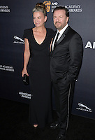 BEVERLY HILLS, CA. October 28, 2016: Rickey Gervais &amp; Jane Fallon at the 2016 AMD British Academy Britannia Awards at the Beverly Hilton Hotel.<br /> Picture: Paul Smith/Featureflash/SilverHub 0208 004 5359/ 07711 972644 Editors@silverhubmedia.com