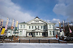 Photo shows the Western-style exterior of the Korakukan theater, Japan's oldest extant wooden playhouse in Kosaka, Akita Prefecture Japan on 19 Dec. 2012. Made entirely from wood, the theater was opened in 1910 and was registered as an Important Cultural Property in 2007. Photographer: Robert Gilhooly
