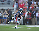 Ole Miss' Jeff Scott (3) returns a kickoff vs. Alabama at Vaught-Hemingway Stadium in Oxford, Miss. on Saturday, October 14, 2011. Alabama won 52-7.