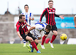 St Johnstone v Real Sociadad...12.07.15  Bayview, Methil (Home of East Fife FC)<br /> Chris Kane tackles Eneko Capilla<br /> Picture by Graeme Hart.<br /> Copyright Perthshire Picture Agency<br /> Tel: 01738 623350  Mobile: 07990 594431