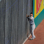 7 August 2016: San Francisco Giants right fielder Gregor Blanco can only look up as a home run ball clears the fence during the 7th inning for the only run by the Washington Nationals at Nationals Park in Washington, DC. The Nationals shut out the Giants 1-0 to take the rubber match of their 3-game series. Mandatory Credit: Ed Wolfstein Photo *** RAW (NEF) Image File Available ***