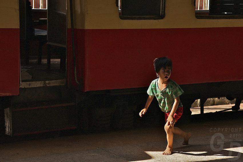 Boy at Yangon Train Station, Myanmar